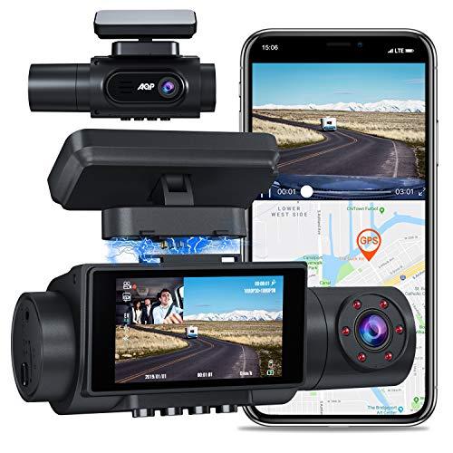 AQP 4K Dual Dash Cam, Infrarot Nachtsicht 2560P+1080P Auto Kamera Vorne Hinten, GPS WiFi Sony Sensor Car Camera (3840x2160P vorne), 2.45