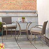 Posada 3-Piece Balcony-Height Patio Bistro Set with Gray Cushions