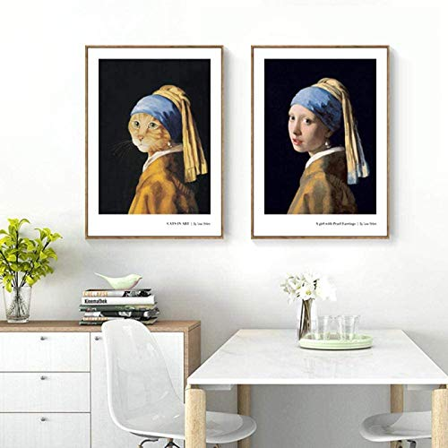 SHYJBH Impresión HD 2 Piezas 20x30cm sin Marco Chica Creativa Gato con una Imagen de Pendiente de Perla en el Cartel de la Pared Pintura de la Pared decoración de la Sala de Estar