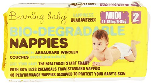 Beaming Baby - Bio-Degradable Nappies, Pannolini Biodegradabili, misura 2 media, 40 pannolini