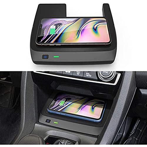 Cargador de Coche InaláMbrico para Honda Civic de 10a GeneracióN 2020 2019 2018 2017 2016 Panel de Accesorios Dde Consola Central, Cargador de TeléFono de 3 Bobinas de Carga RáPida de 10 W