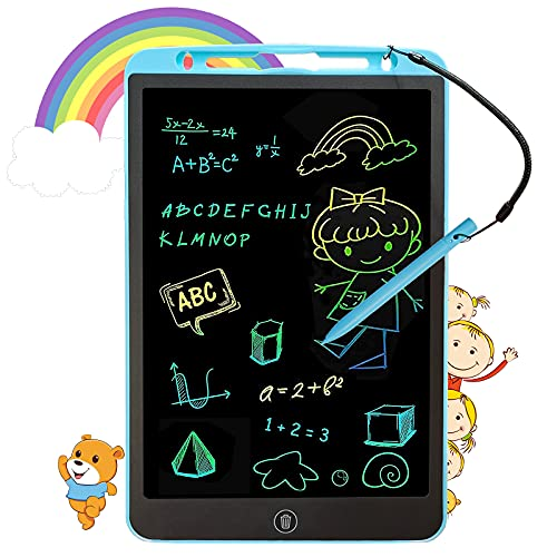Beipegin Kid LCD Writing Tablet,12' Doodle Pad and Colourful Screen Draw Pad, Doodle Magnetic Toddler Drawing Tablet Board Gifts for 3-8 Years Old Boys & Girls at Travel, Home, School & Office, Blue