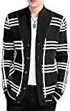 XIUSHANG Men Hipster Loose Shawl Collar Cable Knitted Plaid Open Front Cardigan Coat