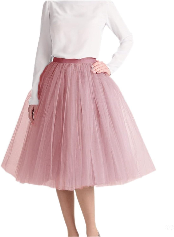 Lisong Women Tea Length Tulle Layered Aline bridal Party Skirt