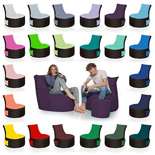 HomeIdeal - 2Farbiger Gamer Sitzsack Lounge für Erwachsene & Kinder - Gaming oder Entspannen - Indoor & Outdoor da er Wasserfest ist - mit EPS Perlen, Farbe:Schwarz-Lila, Größe:Erwachsene