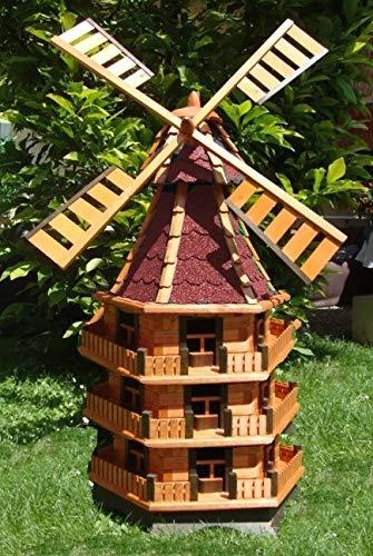 BTV XXL,Windmühle, windmühlen Garten, WMB160ro-MS mit Licht,MIT Beleuchtung, windmühle mit solar, für Außen 1,60 m groß, rot, dunkelrot