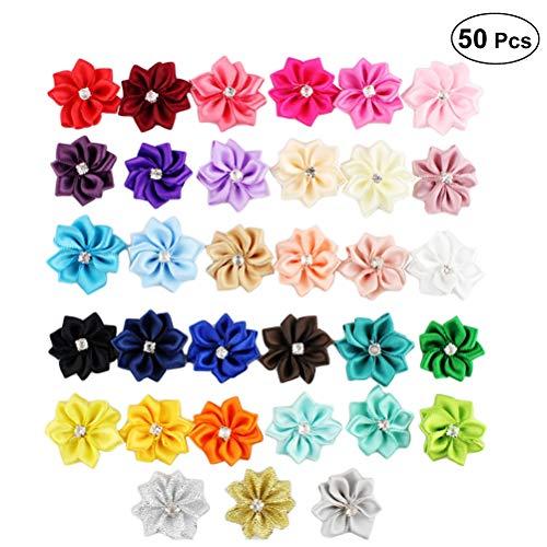 Healifty 50 Stücke Shabby Chiffon Blumen Chiffon Stoff Rosen mit Diamant für Stirnbänder, Hochzeiten und Andere DIY Handwerk 3 cm (Mischfarbe)
