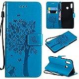 HUIZHIHUA Funda Compatibles para Huawei P30 Lite Carcasa 360 Grados Suave PU Cuero Cubierta Ranura para Tarjetas Billetera cáscara Cierre Magnético Antichoque Cover Protectora-Azul
