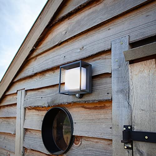 CGC - Lámpara de pared cuadrada solar con sensor de movimiento PIR de color gris oscuro para jardín, porche, patio, cobertizo al aire libre