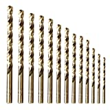 amoolo Cobalt Drill Bit Set (13 pcs), M35 HSS Metal Drill Bits for Steel, Stainless Steel, Metal and Cast Iron,1/16'-1/4'
