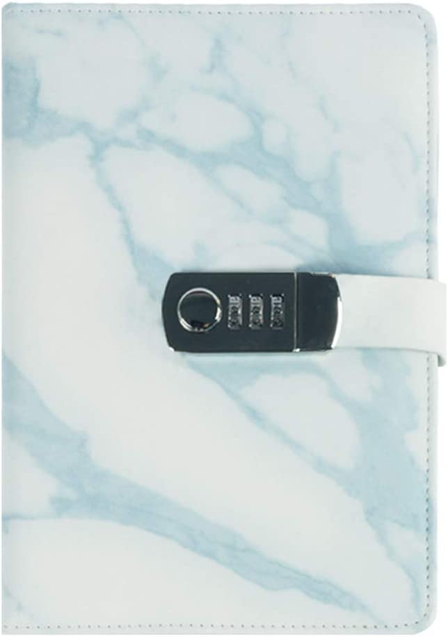 Creative Bound Daily Notepad with Combination Lock Marble Pattern iLoveDeco PU Leather Lock Password Notebook A5 Secret Diary Journal Sketchbook Daily Planner Agenda Notepad 15x21.8cm