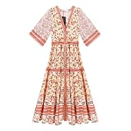 R.Vivimos Women's Summer Cotton Printed Half Sleeve V Neck Flowy Midi Dress