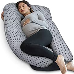Our U shaped body pillow helps support your back, hips, knees, neck, and head to help ease discomfort associated with pregnancy, sciatica, fibromyalgia, gastric reflux, and more. The pregnancy pillow features a detachable extension that can be used a...