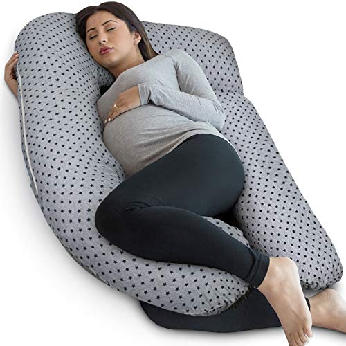 PharMeDoc Pregnancy Pillow, U-Shape (Gray/Star Pattern, Detachable)