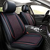 INCH EMPIRE Car Seat Cover-Football Liner Half Perforated Leatherette Cushion Fit for Lancer Evolution Mirage Outlander PHEV Altima Frontier Leaf Maxima Versa Xterra Sentra Murano (Black&Red Full Set)