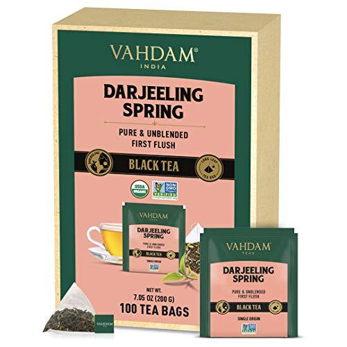VAHDAM, Exotische Darjeeling erste Flush Teeblätter (100 Teebeutel)   Volle Blatt Pyramide Teebeutel   100% reine, unvermischter Flush Darjeeling Tee, aus Indien   frisch & köstlich