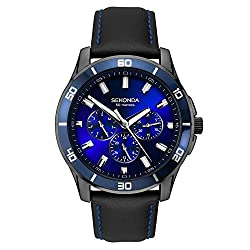 Gunmetal plated case blue sunray dial with day/date display and 24-hour read-out black leather strap Water resistant to 50 metres International products have separate terms, are sold from abroad and may differ from local products, including fit, age ...
