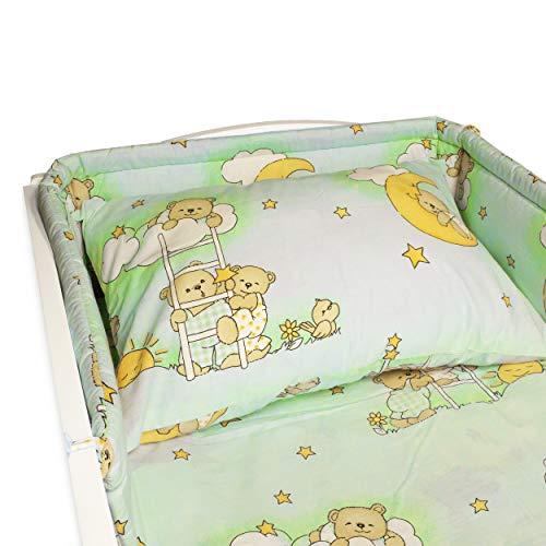 BlueberryShop Bettwäsche aus Baumwolle | Bettbezug 90 x 120 cm | Kissenbezüge 40 x 60 cm | Kinderbettschutz 35 x 150 cm | Für Kinder von 0 bis 3 Jahren | Grün Bär