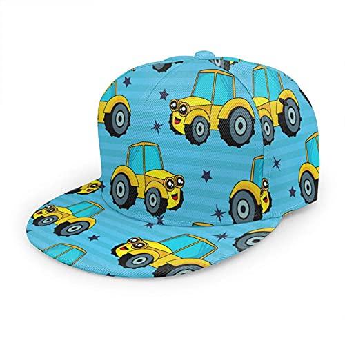 Yearinspace Sombrero de coche colorido gorra de béisbol para mujeres hombres, divertido tractor excavadora construcción granja cargador azul Hip Hop Snapback Trucker Hat Flat Brim Baseball Hat