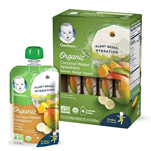 Gerber Organic Coconut Water Splashers, Banana Mango Squash, 3.5 Fl Oz (Pack of 16)