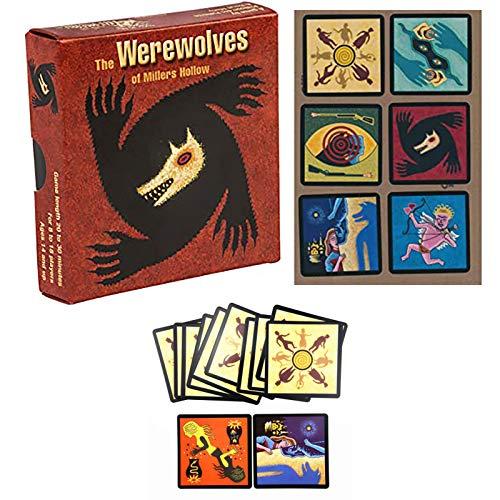 OHHCO Party-Karte Brettspiele Die Werwölfe von Millers Hohle 8-18 Spieler englische Version Themed Deck Spiel für Kinder und Erwachsene (14+)