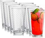 Circleware Paragon Heavy Base Highball Drinking Glasses Tumblers, Huge Set of 8 Kitchen Entertainment Ice Tea Beverage Cups Glassware for Water, Juice, Beer and Bar Decor Gift, 15.7 oz, 8pc