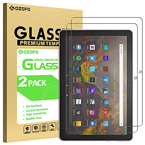 GOZOPO Bildschirmschutzfolie für Fire HD 10 Tablet & Fire HD 10 Plus 10,1 Zoll (nur Kompatibel mit 11. Generation 2021 Modell), Panzerglasfolie, 2 Stück