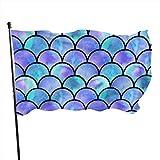 LZHANDA Garten Flaggen Flagge Fahne, Outdoor Watercolor Rainbow Mermaid Scale Garden Flag, Family Flag - 3 X 5 Ft