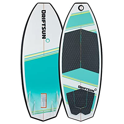 "Driftsun Throwdown Wakesurf Board - 4' 6"" Length Custom Surf Style Wakesurfer, Quad Futures Fin Set Included"