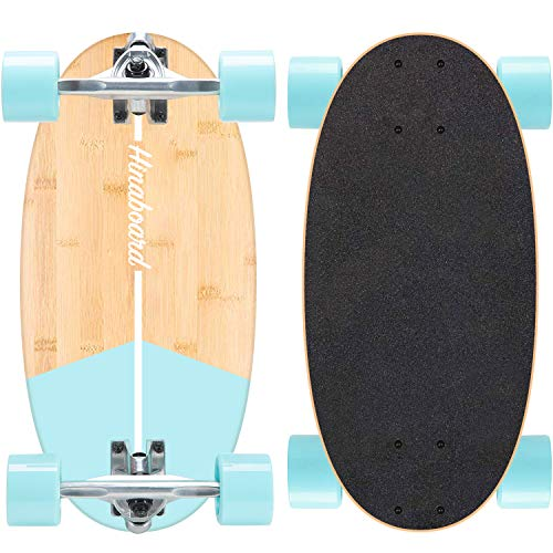 Hi-Na Hinaboard Mini Longboard Tragbares Skateboard Mini Cruiser Skateboard Mini Skateboard Bambus Longboard Crusier Skateboard Kurz Skateboard DIY Skateboard (Aqua Cobble)