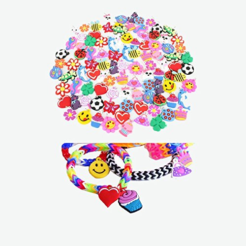 Wadoy 40 Pack of Charms For Rubberband Loom Bracelets