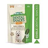 nylabone nutri dent, snack dentali naturali per cani, puliscono i denti, rinfrescano l'alito, alta digeribilità, 10 ricompense per l'igiene dentale, per cani di piccola taglia, tra 8 e 14 kg - 140 g