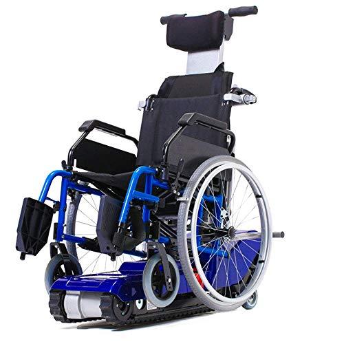 SISHUINIANHUA Elektro-Kletterrollstuhl, Raupenketten, alte Behinderte, Treppen hoch und runter, tragbares Transportmittel, vierrädriges Reisewerkzeug