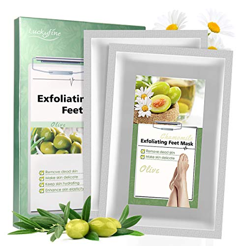 Foot Peeling Mask, Luckyfine 2 Pairs of Foot Mask Callus Removal, Foot Mask for Baby Soft Feet, Foot Mask for Dry, Aging, Cracked Heels, Exfoliating Calluses & Dead Skin in 7 Days