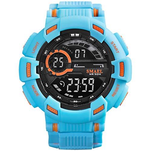 QZPM Relojes Analógico Digital para Hombre Resistente Al Agua Digital Multifuncional Grande De La Cara Militar Alarma con Retroiluminación Outdoor Deportivo Reloj,Sky Blue