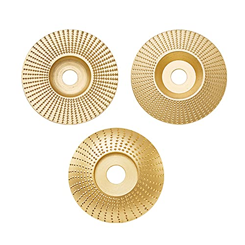 Tungsten Carbide Grinding Wheel Disc, 3 Pieces 5/8 Inch Grinder Shaping Disc Flat Grinder Shaping Abrasive Disc Bore Wood Sanding Carving Tool for Wood Trimming (Gold)