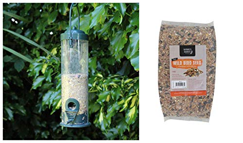 garden mile Green Standard Bird Seed Feeder with 1kg Bag of Bird Feed Seed Hanging Bird Nut Seeds Bird Feeder Outdoor Garden Patio Wild Birds Wildlife Food