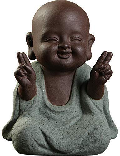 Kingzhuo Ceramic Tiny Cute Buddha Statue Monk Figurine Creative Baby Buddha Crafts Adorable Ornaments Classic Delicate Ceramic Arts and Crafts Small (7 x 10 cm)