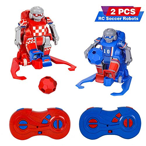 RC Soccer Robots for Kids,RELACC ER10 Kids Toys Set with 2 Goals Gift Football 2.4G Remote Control Robot Set Soccer Ball Robot LED Eyes,Indoor Outdoor Fun Sport Ball Games for Boys and Girls.