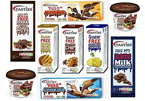 Diabetic Snack Gift Box, Deluxe Sugar Free Hamper, Tasties Large Variety to Include Cookies, Chocolates, & Spread, Suitable for All Occasions
