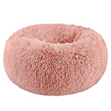 Segle Hundebett,Katzenbett,rutschfeste Unterseite,Runde Form,Weiches Donut-Haustierbett, luxuriöses Fell-Donut-Design,Verschiedene Größen,Flauschig, Weich,Hundekissen,Hundesofa-rose-70 * 70 * 20cm