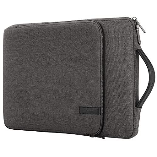 """MoKo Hülle Kompatibel mit Chromebook, MacBook Air 13-inch Retina, MacBook Pro 13"""", iPad Pro 12.9, Tragetasche mit Griff & Vordertasche Schutzhülle für 13-13.3 Zoll Laptop, Schwarz+Grau"""