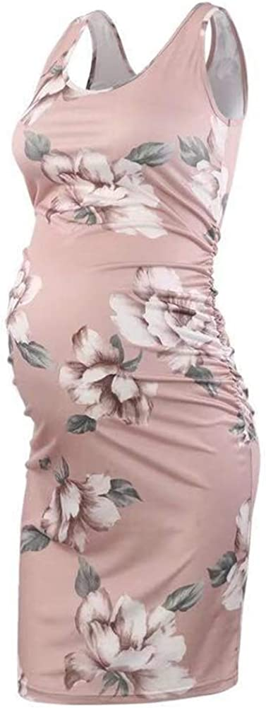 ManMan Women's Maternity Bodycon Causual Mama Dress for Daily Wear Baby Shower Ruched Side