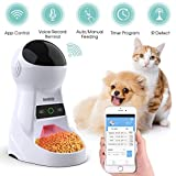Iseebiz Automatic Cat Dog Feeder, 2.4G WiFi App Control Pet Feeder, 3L Food Dispenser with Voice Record Remind, Timer Programmable, Portion Control, IR Detect, 8 Meals Per Day Medium Small Cats Dogs