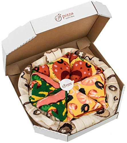 Rainbow Socks - Damen Herren - Pizza Socken Box Meeresfrüchte Pepperoni Italienische - 4 Paar - Größen 41-46