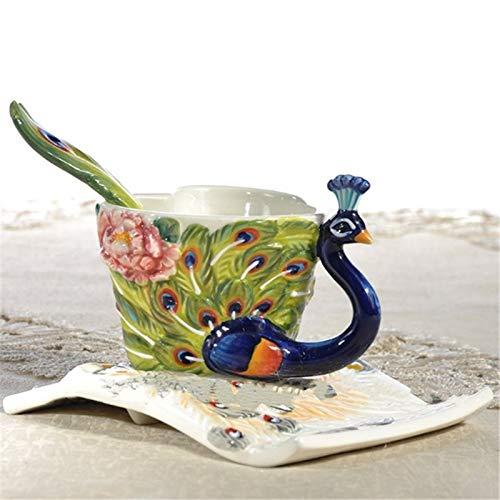 Taza de té de café Pavo De Cerámica En Forma De Corazón Taza De Té Café Establecer Copa Combinación Copa Platillo De Cerámica Pintado A Mano Del Pavo Real Taza De Café Taza de café