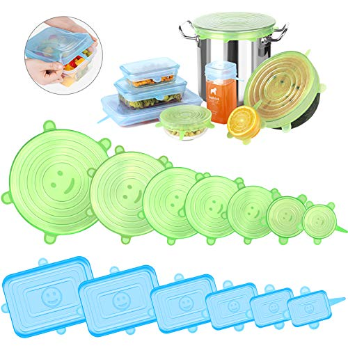 Newdora Tapas de Silicona Elásticas Reutilizables, 13 Piezas (7 Redondas y 6 Cuadradas) Tapas Silicona Ajustables Cocina, para Lavavajillas, Microondas, Horno o Refrigerador, Sin BPA