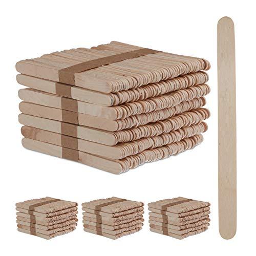 Relaxdays 2000 x Eisstiele aus Holz, EIS Holzstäbchen, zum Basteln & Backen, DIY EIS am Stiel, Holzstiele, HxB: 11,5 x 1 cm, Natur