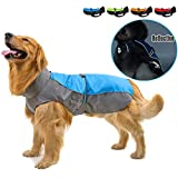 Ranphy Impermeable para Perros Tiras Reflectivas Chubasquero Transpirable Ropa Seguras Jacket Abrigo Chaqueta para Lluvia Medianos Perro de Raza Grande, Mascotas Ropaje Azul 3XL