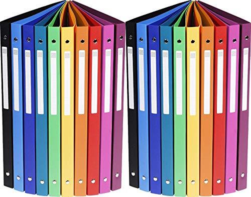 20er Pack Exacompta 51299E Ringbuch (PP 500µ, 4 Ringe, Rücken 20mm, blickdicht, DIN A4) 10 Farben